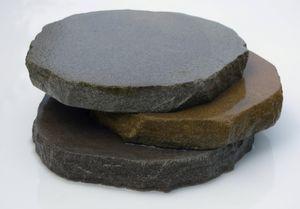 Trittplatte / Trittstein aus Ruhrsandstein | grau/grau bis braun ca. D= ca. 30cm | Trittstein Stepstone rund 1 Stück