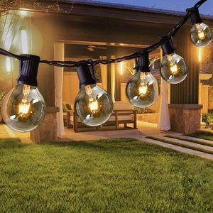 Lichterkette Außen 9.15  m 30+3er Lichterkette G40 Glühbirnen Glühbirnen Lichterkette Außen Warmweiß Garten Lichterketten Außen Innenbeleuchtung Deko Licht mit Stecker für Hochzeit, Zimmer, Garten