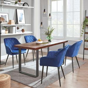 SONGMICS Esszimmerstuhl Polsterstuhl mit Armlehnen Samtbezug Sessel Sitzbreite 49 cm Metallbeine bis 110 kg belastbar blau LDC088Q01