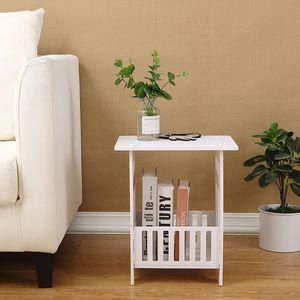 Beistelltisch Tisch Nachttisch Weiß Sofatisch Zeitungsständer Wohnzimmertisch