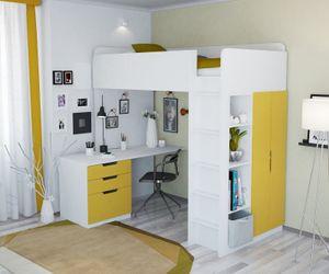 Hochbett mit Kleiderschrank und Schreibtisch Polini Home gelb,1447.18
