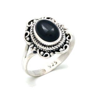 Onyx Ring 925 Silber Sterlingsilber Damenring schwarz (MRI 122-03),  Ringgröße:58 mm / Ø 18.5 mm