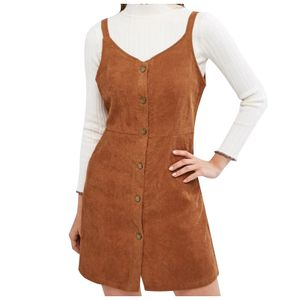 Damenmode Vintage Plain Retro Cord Skinny Cardigan Taschenrock Größe:S,Farbe:Braun