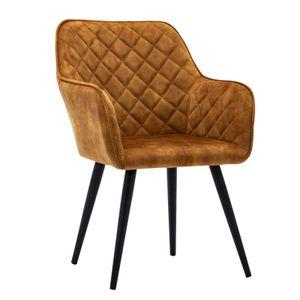 Esszimmerstuhl Polsterstuhl Armstuhl Samt Orange-Braun Vintage Design Sessel Metallbeine