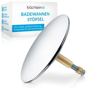 Bächlein Universal Badewannenstöpsel - Abfluss-Stopfen aus massivem Messing inkl. Ersatzdichtung - Chrom