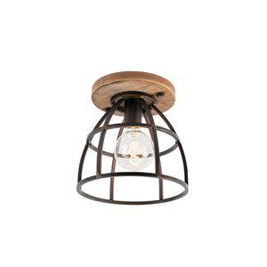 QAZQA - Industrie | Industrial IndustrieDeckenleuchte | Deckenlampe | Lampe | Leuchte schwarz mit Holz - Arthur | Wohnzimmer | Schlafzimmer | Küche - Stahl Rund - LED geeignet E27