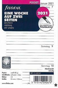 Filofax Kalendereinlage Pocket: Eine Woche auf zwei Seiten 2021 deutsch vertikal mit Linien