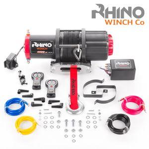 Rhino 12V Elektrische Seilwinde mit Fernbedienung und Mobilteil, Kunststoffseil/Synthetikseil - 4500lb / 2040kg