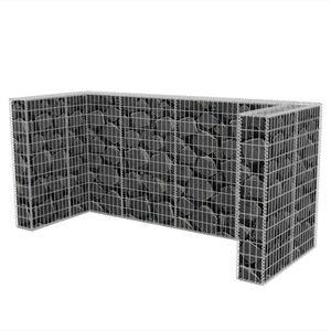 vidaXL Gabionen-Mülltonnenverkleidung für 3 Tonnen Stahl 250x100x120cm