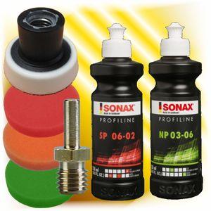 Sonax Profiline Schleifpaste Politur + 3 x Polierschwamm 50 mm +Teller + Dorn