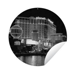 Gartenposter Rund - Beleuchtete Gebäude in der Nacht in Las Vegas - Vereinigte Staaten - schwarz und weiß - Ø 90 cm