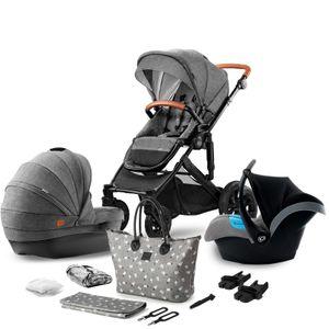 Kinderkraft Kombikinderwagen 3in1 PRIME grey + mommy bag