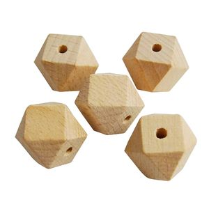 20 Stück unlackiert natürliche geometrische facettierte unvollendete Holzperlen 10mm Größe 10mm
