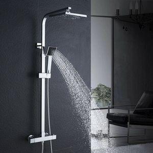 Bad Duschsystem mit Thermostat, Duscharmatur Regendusche Duschkopf Handbrause Duschstange Brausegarnitur Chorm