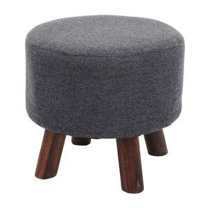 Sitzhocker HWC-C29, Ottomane Hocker Fußhocker, Ø 42cm rund  Stoff/Textil anthrazit-grau