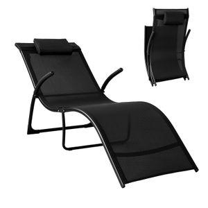 SoBuy OGS45-SCH Sonnenliege klappbar Gartenliege Relaxstuhl Liegestuhl mit Kopfkissen Klappliege Schwarz Belastbarkeit 150 kg BHT ca: 60x69x173cm