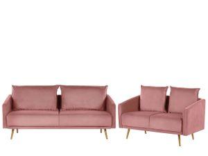 Sofa Set Rosa aus Samtstoff Sitzgruppe mit Metallbeinen und abziehbaren Kissenbezüge Langlebig Glamourös Edel Zierkissen Wohnzimmer