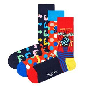 Happy Socks Father's Day Geschenk Box 3 Paar Socken 3 Paar exklusive Socken in einer Geschenkbox, Jedes Paar zeigt einen Mix unterschiedlicher Farbtöne, Gestrickt aus gekämmter Baumwolle