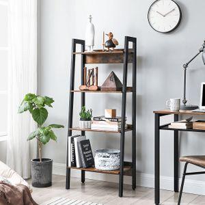 VASAGLE Bücherregal Leiterregal mit 4 Ebenen Homeoffice freistehend  Metallgestell einfacher Aufbau industriell vintagebraun-schwarz LLS054X01