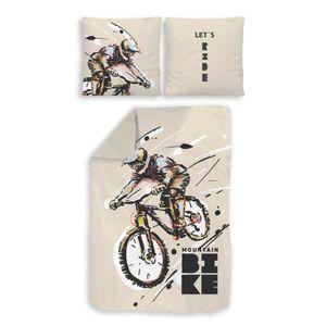 MTB Mountainbike Fahrrad Bettwäsche 80x80 + 135x200 cm · Jungen / Teenager Bettwäsche - 100% Baumwolle