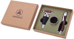 Wurm - Geschenkset Laguiole Kellnermesser, Weinring, Flaschenverschluß aus Metall Silber 3er Set, (B/H/T) 16x14x4cm