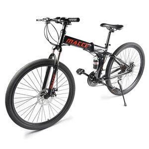 26-Zoll-Mountainbikes Mit Vollfederung 21-Gang-Faltrad rutschfest,Farbe: Schwarz