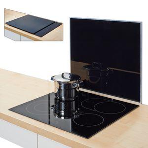 Zeller Herdblende-/Abdeckplatte, schwarz, Glas 56x50 cm