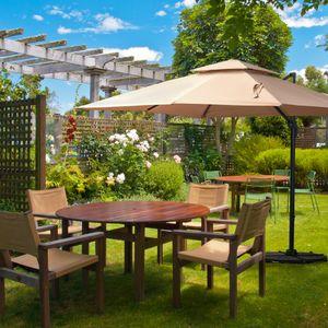 Outsunny Sonnenschirm Gartenschirm Alu Terrassenschirm 360 grad schwenkbar Khaki