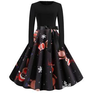 (Größe: L schwarz) Damen Weihnachts Kleid Langarm Weihnachten Pullover Kleid Weihnachtskleider Cocktailkleid Druck Kleid Blumenspitze A-Line Elegantes Festlich Kleid Vi,ntage Hepburn Kleid