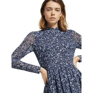 Tom Tailor printed mesh dress 16355 blue flower print S