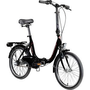 Zündapp ZF40 20 Zoll Klapprad Klappfahrrad Faltrad StVZO Faltfahrrad Erwachsene Damen Herren tiefer Einstieg, Farbe:schwarz, Rahmengröße:35.5 cm
