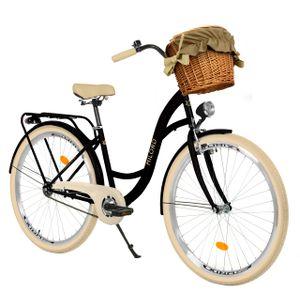 Milord Komfort Fahrrad Mit Weidenkorb Damenfahrrad, 26 Zoll, Schwarz-Creme, 1 Gang