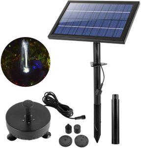 8W Solar Springbrunnen LED Teichpumpe Tauchpumpe Kit mit LED Beleuchtung & Akku