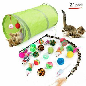 Kermior 21PC Cute Katzenspielzeug Haustier Set Katzentunnel Faltbar Bällen Mäusen Feder