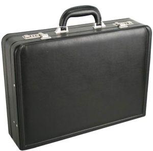 Business Piloten Laptop Aktenkoffer 46x34x12cm Erweiterbar mit Dehnfalte Schwarz Bowatex