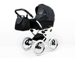 Lux4Kids Retro Kinderwagen Komplettset Buggy Babywanne Megaset Marget  White Dots  3in1 mit Autositz