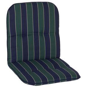 Gartenstuhl Auflage Capri – Niedriglehnerauflage für Gartenstühle, Dessin:Green / Blue Stripes, Anzahl:1x