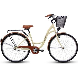 Goetze 28 Zoll Eco Damenfahrrad Citybike Retro Vintage Fahrrad Cream Metallkorb