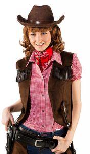 O9741-44-46 braun Damen Cowboy Cowgirl Weste WildKunstleder Gr.44-46