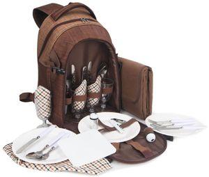 BRUBAKER Picknickrucksack für 4 Personen Braun 28,5 × 19 × 42,5 cm - mit Kühlfach und wasserfester Picknickdecke