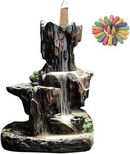Keramischer Wasserfall Rückfluss Weihrauchbrenner Räuchergefäß mit 20 Kegeln für Innenministerium-Schlafzimm