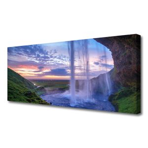Tulup Leinwand-Bilder 125x50 Wandbild Canvas Kunstdruck Wasserfall Landschaft