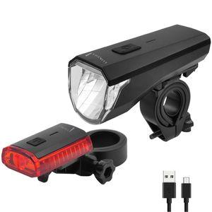 LED Akku Fahrradampen  Fahrradicht  Fahrradeuchten - Set mit Front und Rueckicht  akkubetrieben  wasseresistent  StVZO kompatibe