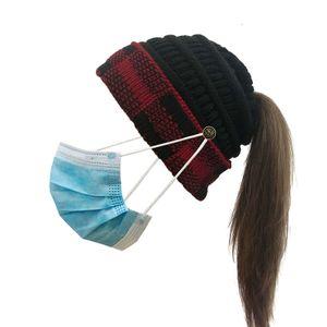 Damen Pferdeschwanz Beanie Hut mit Knopf für Maske, Criss Cross Winter High Messy Bun Beanie Hut mit Pferdeschwanz Loch