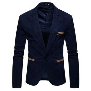 Herren Herbst Winter Casual Cord Slim Langarm Mantel Anzug Jacke Blazer Top Größe:XXL,Farbe:Navy