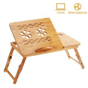 Faltbarer Bambus-Laptop-Schreibtischstaender Fruehstueck Servierbett Tablett Tischhoehe Verstellbar mit 4 Winkeln Kippbare obere Schublade zum Lesen Schreiben Arbeiten Essen