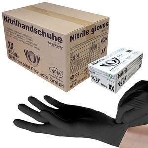 SFM ® BLACKLETS : M Nitrilhandschuhe puderfrei F-tex schwarz (1000)