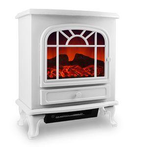 Elektrokamin  mit Heizung und LED Kaminfeuer-Effekt | 2000W | weiß | Elektrischer Kamin Ofen