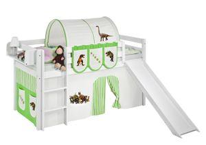 Lilokids Spielbett JELLE Dinos Grün Beige - Hochbett - weiß - mit Rutsche und Vorhang, Maße: 208 cm x 113 cm x 98 cm; JELLE3054KWR-DINOS-GRUEN