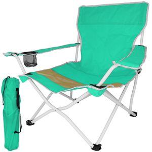 Klappstuhl Beach grün Gartenstuhl klappbar Campingstuhl mit Armlehnen Getränkehalter Stuhl Strandstuhl Anglerstuhl